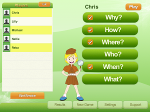 Selecting the players and their question types.