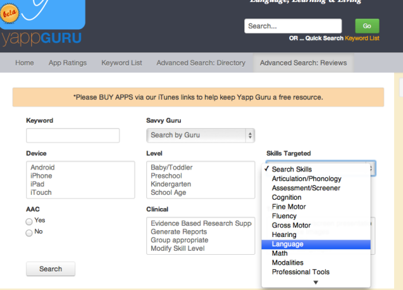 A screenshot of how to search within our app reviews. Note all the various drop downs.